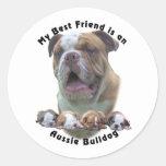Best Friend Aussie Bulldog 2 Classic Round Sticker