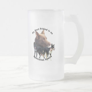 Best Friend Australian Koolie Solid Colours Frosted Glass Beer Mug