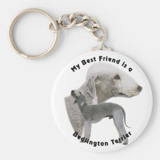 Best friend Bedlington Terrier Basic Round Button Key Ring
