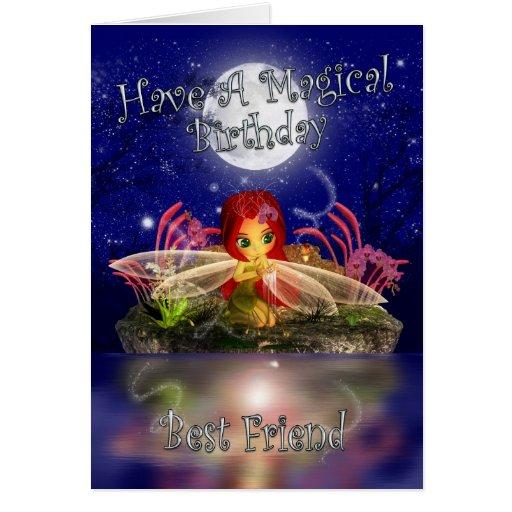 Best Friend Birthday Card - Cute Little Fairy - Wa