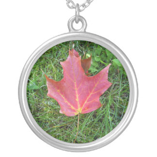 Best Friend  Birthday Red Maple Leaf Round Pendant Necklace