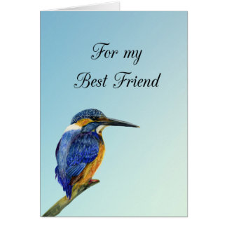Best Friend Birthday Wishes Kingfisher Painting Card