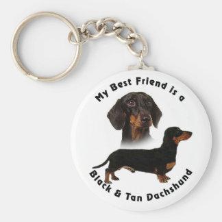 Best Friend Black Tan Dachshund Key Ring