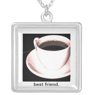 Best Friend Coffee Cup square necklace