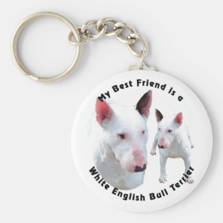 Best Friend English Bull Terrier White Basic Round Button Key Ring