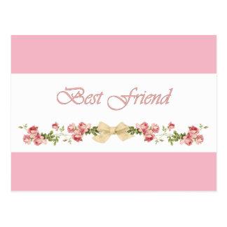 Best Friend Floral Pink Postcard