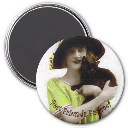 Best Friend Forever Woman & Cat Fridge Magnet