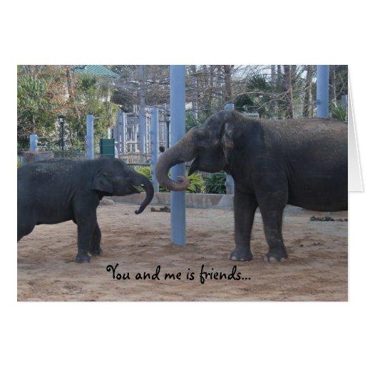 best friend funny birthday card, playing elephants