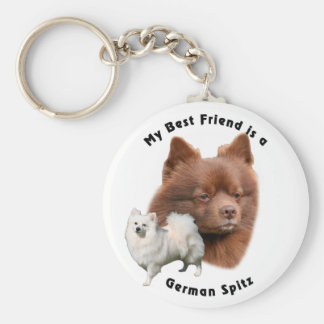 Best Friend German Spitz 2 Basic Round Button Key Ring