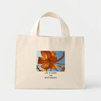 BEST FRIEND Gifts Orange Tiger Lily Flower Gifts Tote Bags