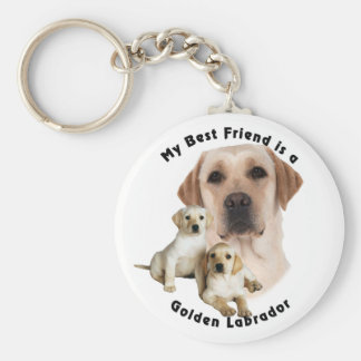 Best Friend Golden labrador Basic Round Button Key Ring