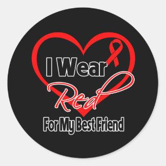 Best Friend - I Wear a Red Heart Ribbon Round Sticker