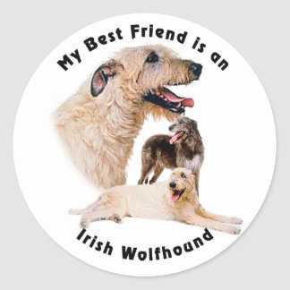Best friend Irish Wolfhound Classic Round Sticker