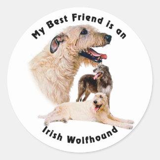 Best friend Irish Wolfhound Round Sticker