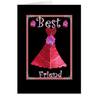 BEST FRIEND - Maid of Honor with RED Gown Greeting Card