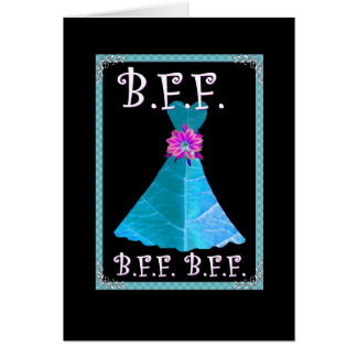 BEST FRIEND - Maid of Honor with Rich Blue Gown Greeting Card