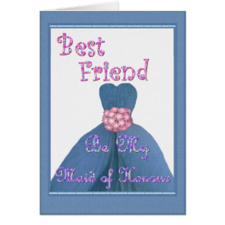 BEST FRIEND Maid of Honour PERIWINKLE Dress Cards