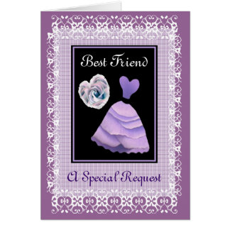 BEST FRIEND Maid of Honour -  PURPLE Gown Greeting Card