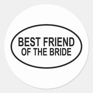 Best Friend of the Bride Black Wedding Oval Round Sticker