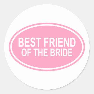 Best Friend of the Bride Wedding Oval Pink Round Sticker