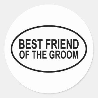 Best Friend of the Groom Wedding Oval Round Sticker