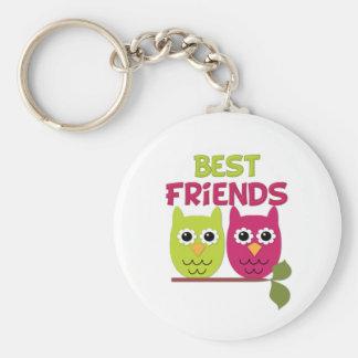 Best Friend Owls Basic Round Button Key Ring