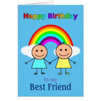 Best Friend Rainbow Personalized Birthday Card