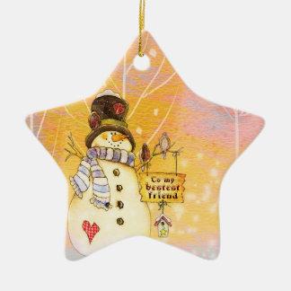 Best Friend Snowman Star Ornament