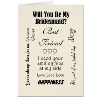 Best Friend, Will You Be My Bridesmaid? Ivory Card