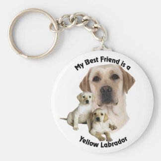 Best Friend Yellow Labrador Basic Round Button Key Ring