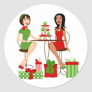 Best Friends and Cupcakes at Christmas! Round Sticker