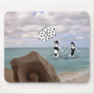 Best Friends at the Beach Seashell Mouse Pads