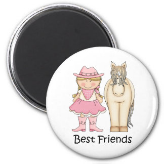 Best Friends - Blond Cowgirl and Horse Magnet