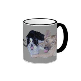 Best Friends Border Collie & German Shepherd Ringer Mug