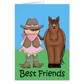 Best Friends - Brunet Cowgirl and Horse Card