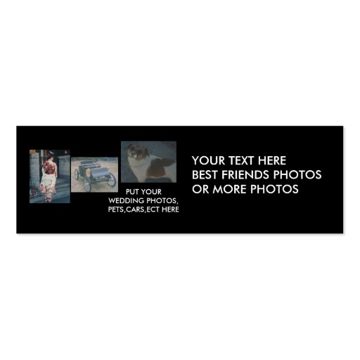 Best Friends,cars,pets,wedding Photos Bookmark Business Cards