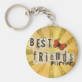 Best Friends Collage Word Cutout Vintage Butterfly Basic Round Button Key Ring
