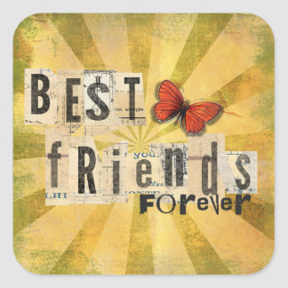 Best Friends Collage Word Cutout Vintage Butterfly Square Stickers