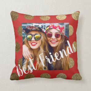 Best Friends Cursive Script Red Gold Polka Dot Cushion
