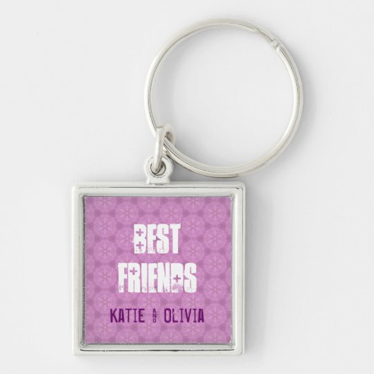 Best Friends Custom Name Pink Pattern W1567A Silver-Colored Square Key Ring