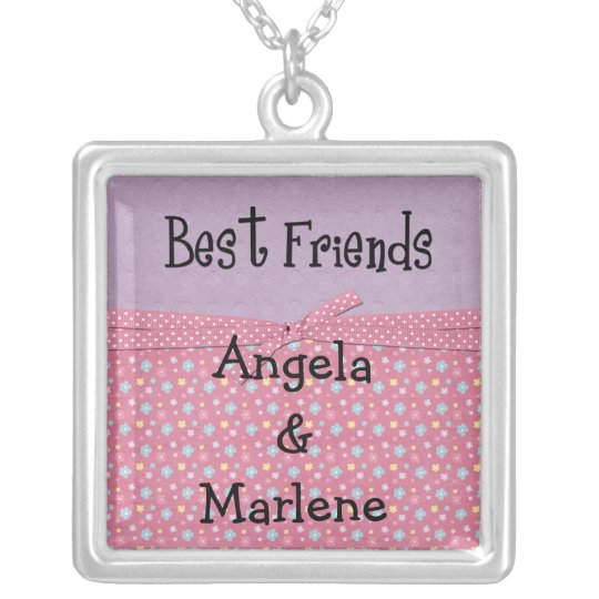best friends customise silver plated necklace