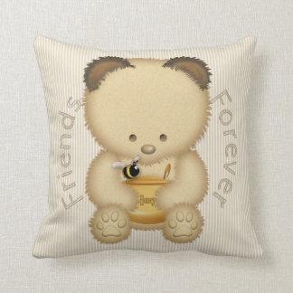 Best Friends Cute Honey Bear And Bee Cushion