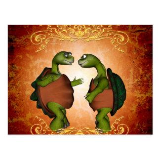 Best friends, cute turtles postcard