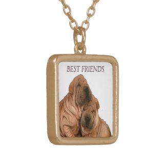 Best Friends Doggies Square Pendant Necklace