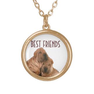 Best Friends Doggies Round Pendant Necklace