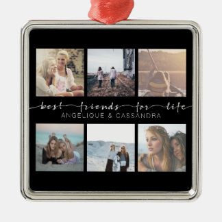 Best Friends for Life Typography Instagram Photo Silver-Colored Square Decoration