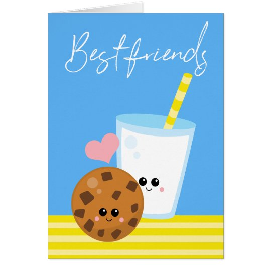 Best Friends Forever BBF Milk And Cookie Kawaii Card