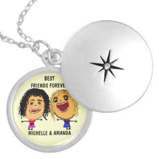 Best Friends Forever BFF Cartoon Round Locket Necklace