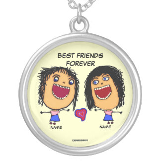 Best Friends Forever Cartoon Silver Plated Necklace