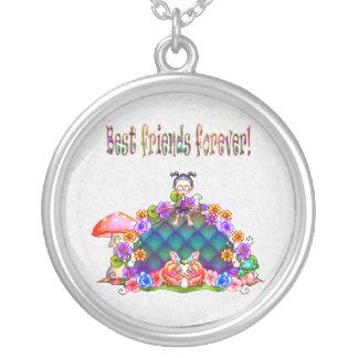Best Friends Forever Pixel Art Round Pendant Necklace